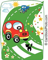 voiture rouge, dessin animé, vecteur