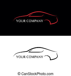 voiture, rouge noir, logos