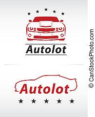 voiture, rouge noir, lot, logo