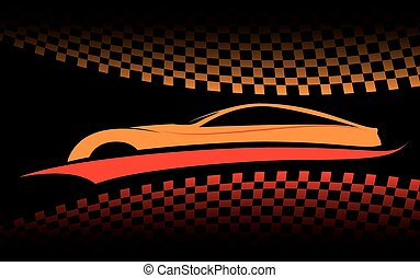 voiture, rouge-orange