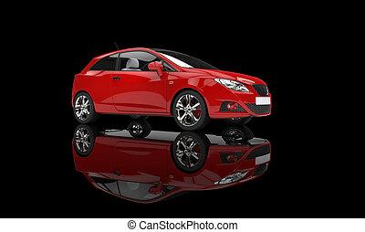 voiture rouge, sur, arrière-plan noir
