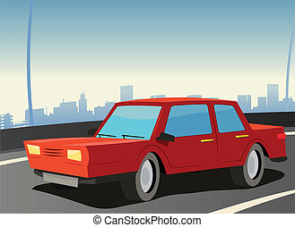 voiture, rouges, autoroute, ville