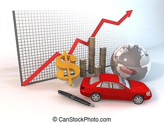 voiture, rouges, diagramme, biens