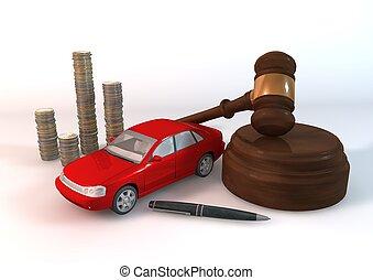 voiture, rouges, enchère, biens