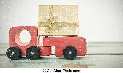 voiture, rouges, jouet, combiné, tomber, neige, présent