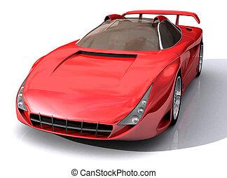 voiture, rouges, modèle, 3d