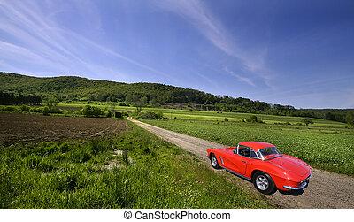 voiture, rouges, rural
