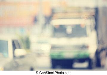 voiture, route, brouillé