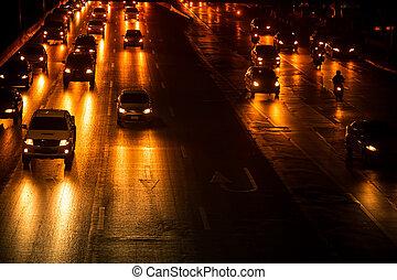 voiture, rue, nuit