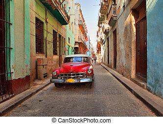 voiture, rue, vieux, américain, cuba-may, havane, rouillé, ...