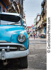 voiture, rue, vieux, américain, havane, cuba