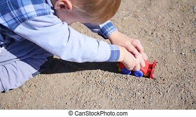voiture, sable, jouet, jouer, enfant