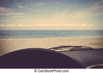 voiture, sable, retro, vendange, plage, voyage, route
