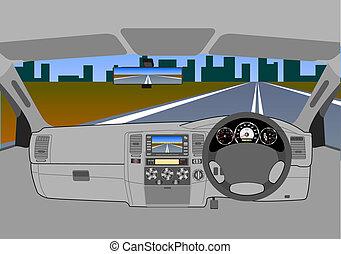 voiture, sans, chauffeur, road.