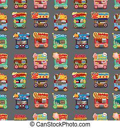 voiture, seamless, marché, modèle, dessin animé, magasin