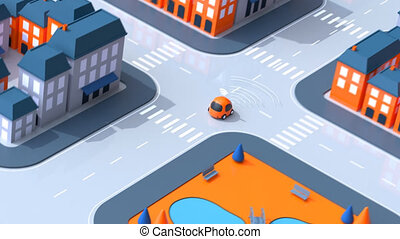 voiture, self-driving, animation, -, 3d