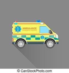 voiture, service cas urgent, illustration, ambulance