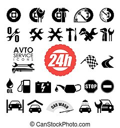 voiture, service., icônes