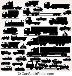 voiture, set., silhouettes, icône, vue côté