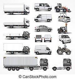 voiture, set., vecteur, illustration.
