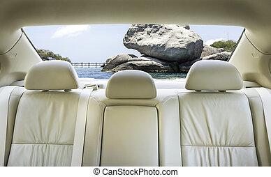 voiture., siège arrière