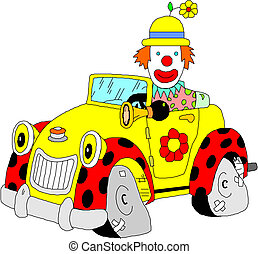 voiture, sien, clown
