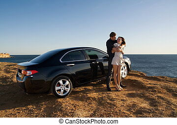 voiture, sien, famille, suivant