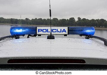 voiture, signal, police, lumière