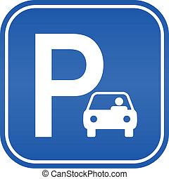 voiture, signe parking