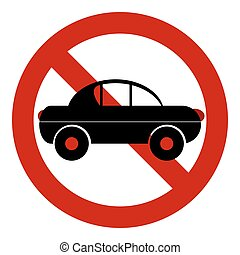 voiture, signe., route, non