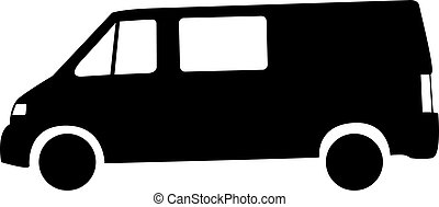 voiture, silhouette, fourgon