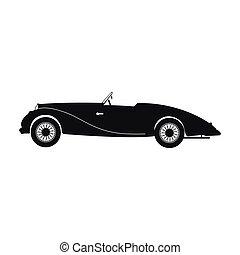 voiture, silhouette, retro, noir