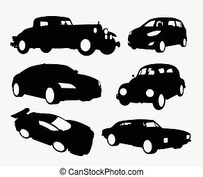 voiture, silhouettes, transport