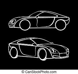 voiture, silhouettes, vecteur