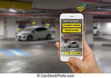 voiture, smartphone, self-driving, app, contrôlé, stationnement, concept, lot, parc