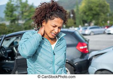 voiture, soûlerie, fracas, whiplash, après, douloureux, pare...