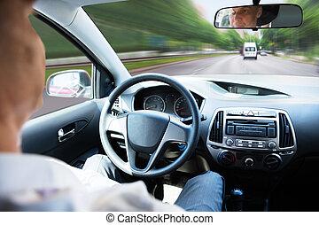voiture, soi, conduite, homme