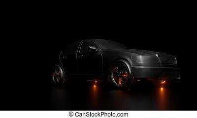voiture, sombre, éclats (flares), fond, argent, rouges
