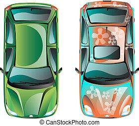 voiture, sommet, deux, vue