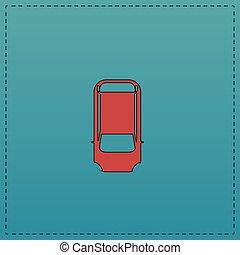 voiture, sommet, informatique, symbole, vue