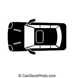 voiture, sommet, stationnement, silhouette, vue