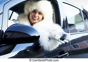 voiture, Sourire, femme, clé