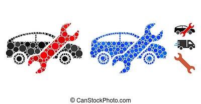 voiture, spheric, articles, mosaïque, icône, réparation