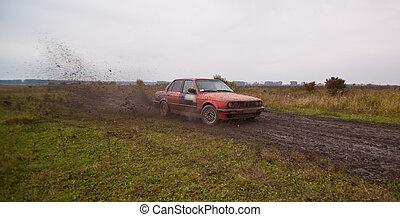 voiture, sport, conduire, rouges, terre