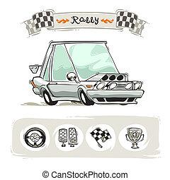 voiture, sport, ensemble, dessin animé