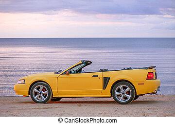 voiture, sport, jaune, cabriolet