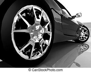 voiture, sport, noir, haut fin