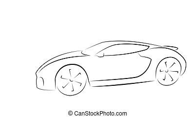 voiture, sport, silhouette