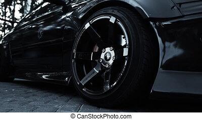 voiture sport, vue, élégant, roue, noir, côté
