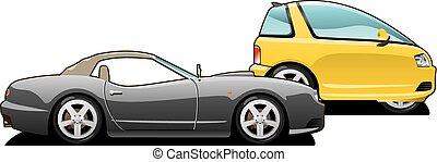 voiture., sports, minuscule, voiture